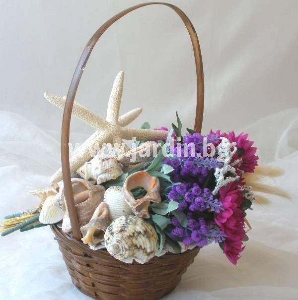 Кошница Цветя И Море