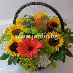 "Basket ""sunflower and gerbera"""