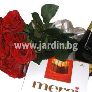 Рози, шоколад и пенливо вино