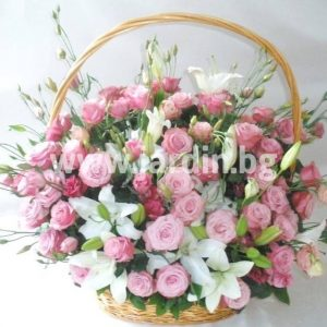 """basket of pink roses """"Diamond"""""""