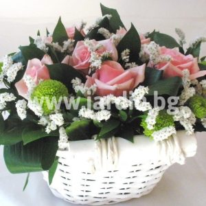 With pink roses