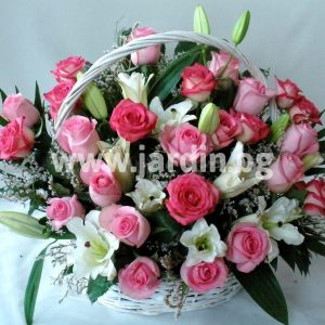 basket with pink roses and lilies
