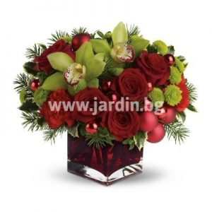 "Christmas Flowers ""Roses and Cymbidium """