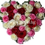 """arrangement """"heart with roses №7″"""