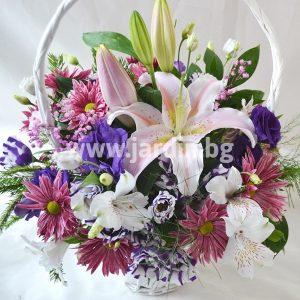 """basket """" lilies and eustoma"""""""