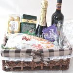 Basket with wine, chocolates and sweets 2