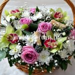 Basket Orchids and roses