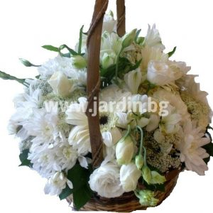 Basket  white flowers 1