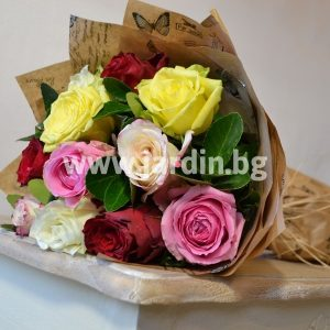 "Bouquet ""Colorful with roses"""