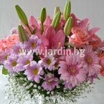 (Български) Букет Лилиум, рози, хризантеми №2