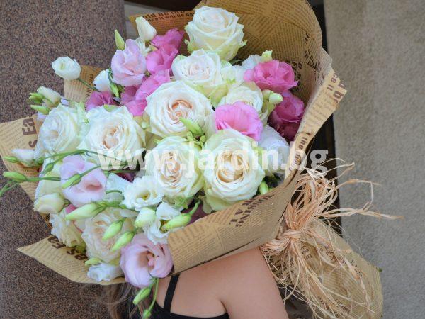 Букет Еустома и Рози №3