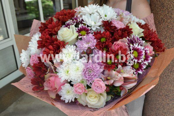 Букет Рози и Хризантеми №3